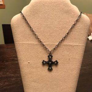 Bebe, Cross necklace - Black & silver rhinestones